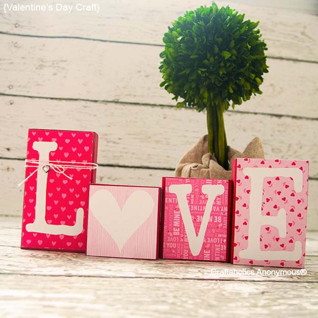 DIY Valentine Decor Ideas - Easy DIY Love Blocks - Cute and Easy Home Decor Projects for Valentines Day Decorating - Best Homemade Valentine Decorations for Home, Tables and Party, Kids and Outdoor - Romantic Vintage Ideas - Cheap Dollar Store and Dollar Tree Crafts