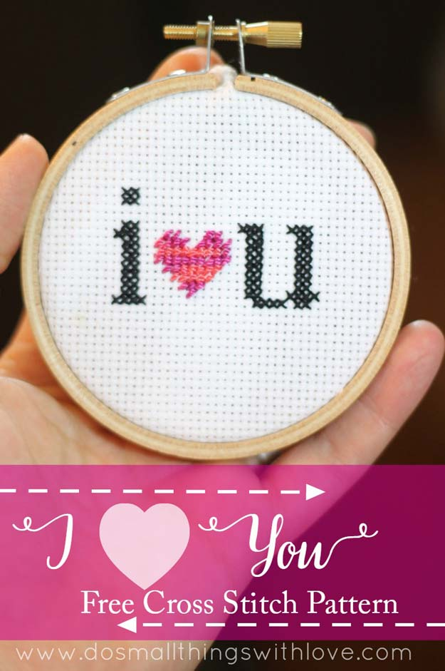 DIY Valentine Gifts - I Heart You Cross Stitch Pattern - Gifts for Her and Him, Teens, Teenagers and Tweens - Mason Jar Ideas, Homemade Cards, Cheap and Easy Gift Ideas for Valentine Presents http://diyprojectsforteens.com/diy-valentine-gifts