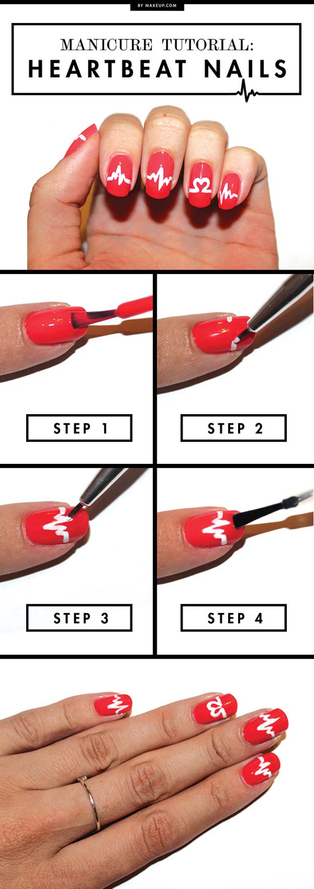 Valentine Nail Art Ideas - Heartbeat Nails - Cute and Cool Looks For Valentines Day Nails - Hearts, Gradients, Red, Black and Pink Designs - Easy Ideas for DIY Manicures with Step by Step Tutorials - Fun Ideas for Teens, Teenagers and Women