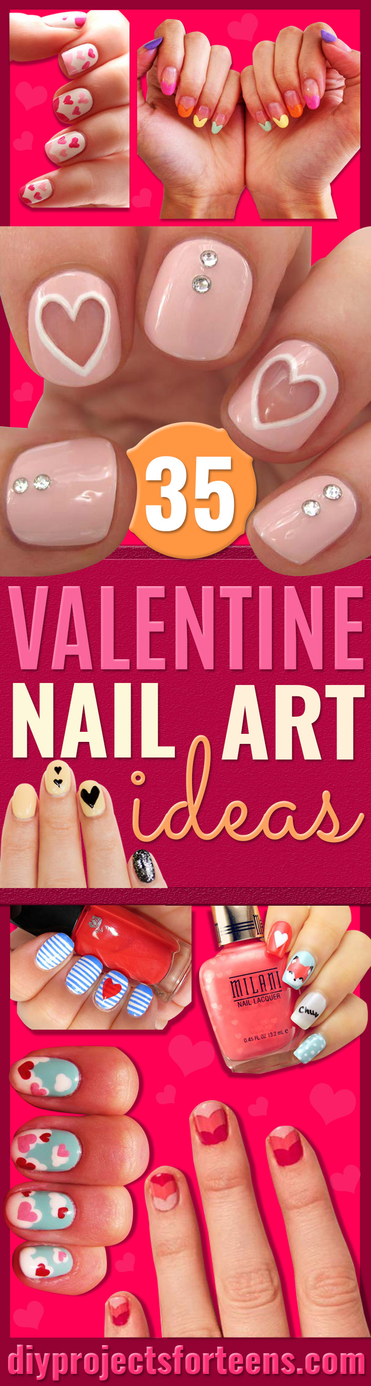 Valentine Nail Art Ideas Cute and Cool Looks For Valentines Day Nails - Hearts, Gradients, Red, Black and Pink Designs - Easy Ideas for DIY Manicures with Step by Step Tutorials - Fun Ideas for Teens, Teenagers and Women