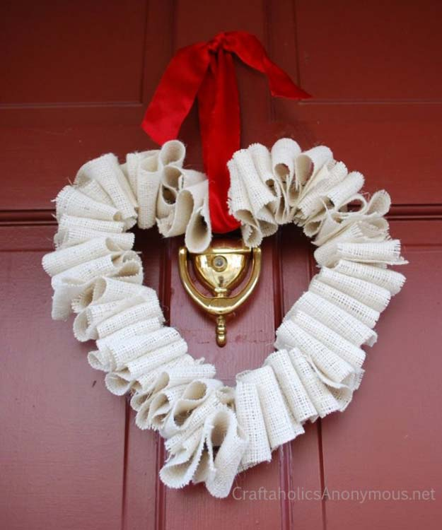 DIY Valentine Decor Ideas - Burlap Heart Wreath Tutorial - Cute and Easy Home Decor Projects for Valentines Day Decorating - Best Homemade Valentine Decorations for Home, Tables and Party, Kids and Outdoor - Romantic Vintage Ideas - Cheap Dollar Store and Dollar Tree Crafts