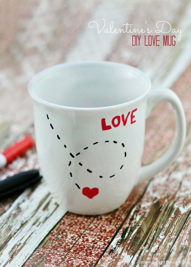 DIY Valentine Gifts - DIY Love Mug - Gifts for Her and Him, Teens, Teenagers and Tweens - Mason Jar Ideas, Homemade Cards, Cheap and Easy Gift Ideas for Valentine Presents http://diyprojectsforteens.com/diy-valentine-gifts