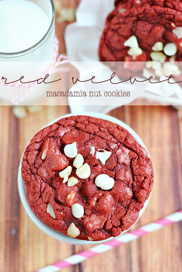Best Valentines Cookies - Red Velvet Macadamia Nut Cookies - Easy Cookie Recipes and Recipe Ideas for Valentines Day - Cute DIY Decorated Cookies for Kids, Homemade Box Cookies and Bouquet Ideas - Sugar Cookie Icing Tutorials With Step by Step Instructions - Quick, Cheap Valentine Gift Ideas for Him and Her http://diyprojectsforteens.com/valentine-cookie-recipes