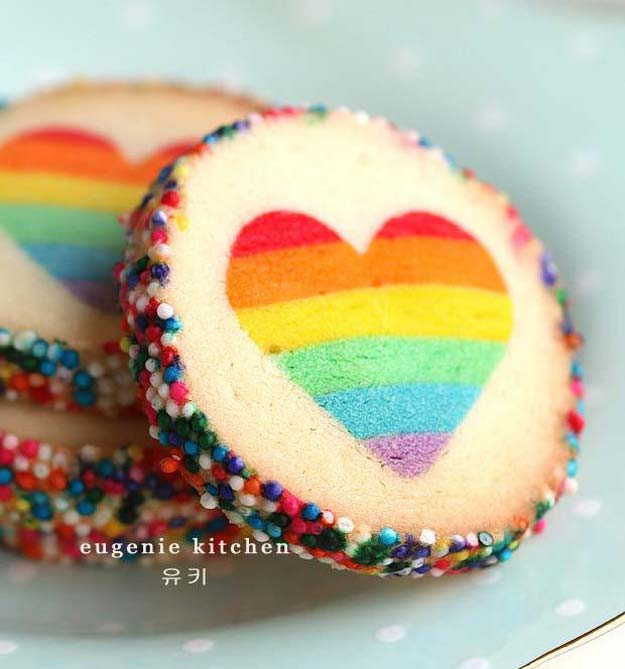 Best Valentines Cookies - Valentine Rainbow Heart Cookies - Easy Cookie Recipes and Recipe Ideas for Valentines Day - Cute DIY Decorated Cookies for Kids, Homemade Box Cookies and Bouquet Ideas - Sugar Cookie Icing Tutorials With Step by Step Instructions - Quick, Cheap Valentine Gift Ideas for Him and Her http://diyprojectsforteens.com/valentine-cookie-recipes