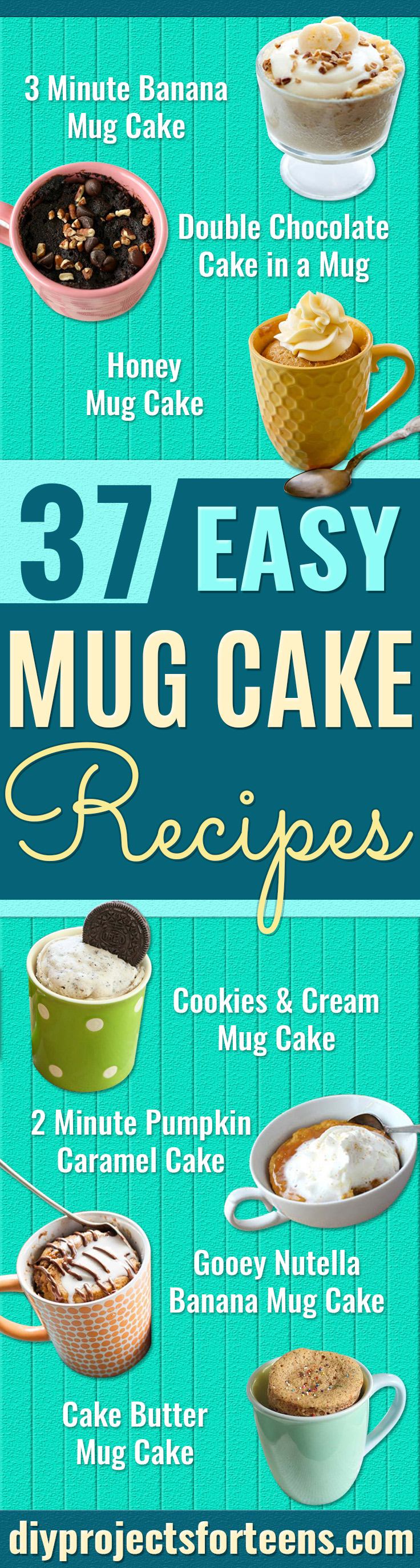 Easy Mug Cake Recipes - Best Microwave Cakes and Ideas for Baking Cake in The Microwave - Chocolate, Vanilla, Healthy, Snickerdoodle, Peanut Butter, Brownie and Nutella - Step by Step Tutorials and Instructions - Best DIY Projects and Recipes for Teens and Teenagers