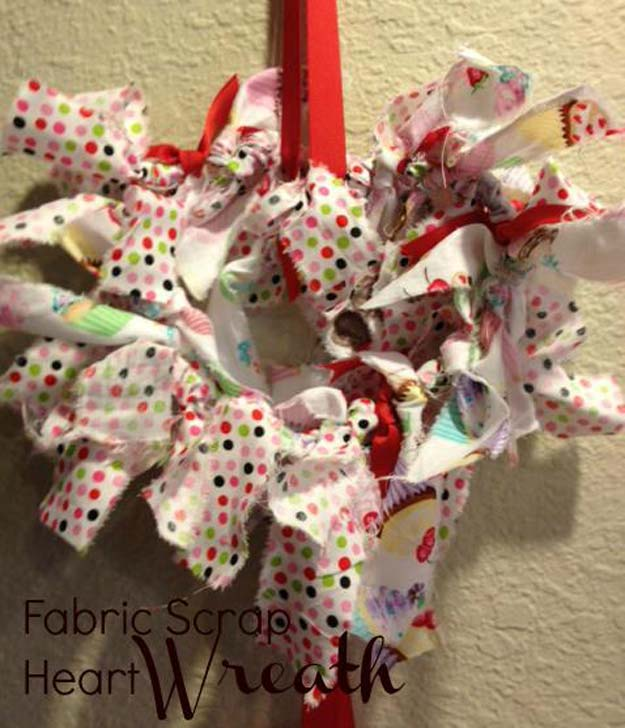 diy valentine decor ideas fabric scrap heart wreath cute and easy home decor projects