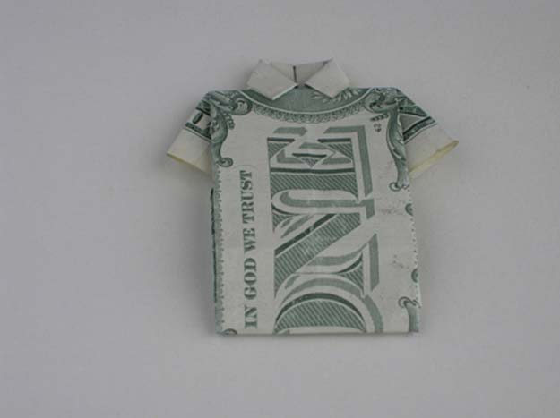 DIY Money Origami - Money Origami Shirt - Step by Step Tutorials for Star, Flower, Heart, Buttlerfly, Animals. Tree, Letters, Bow and Boxes - Cute DIY Gift Ideas for Birthday and Christmas Cards - DIY Projects and Crafts for Teens http://diyprojectsforteens.com/diy-money-origami