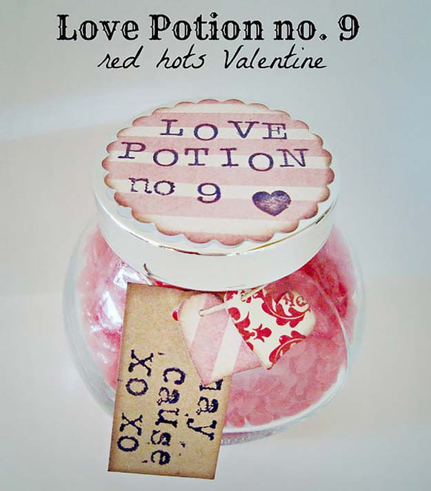 Best Mason Jar Valentine Crafts - Love Potion No. 9 Red Hots Valentine - Cute Mason Jar Valentines Day Gifts and Crafts | Easy DIY Ideas for Valentines Day for Homemade Gift Giving and Room Decor | Creative Home Decor and Craft Projects for Teens, Teenagers, Kids and Adults