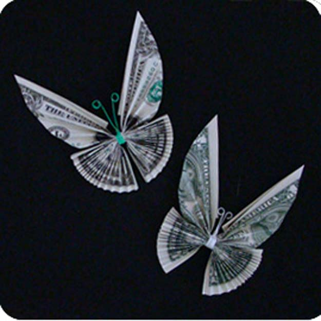 DIY Money Origami - Money Twist Tie Butterfly - Step by Step Tutorials for Star, Flower, Heart, Buttlerfly, Animals. Tree, Letters, Bow and Boxes - Cute DIY Gift Ideas for Birthday and Christmas Cards - DIY Projects and Crafts for Teens http://diyprojectsforteens.com/diy-money-origami