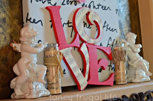 DIY Valentine Decor Ideas - Music Paper L-O-V-E Letters - Cute and Easy Home Decor Projects for Valentines Day Decorating - Best Homemade Valentine Decorations for Home, Tables and Party, Kids and Outdoor - Romantic Vintage Ideas - Cheap Dollar Store and Dollar Tree Crafts