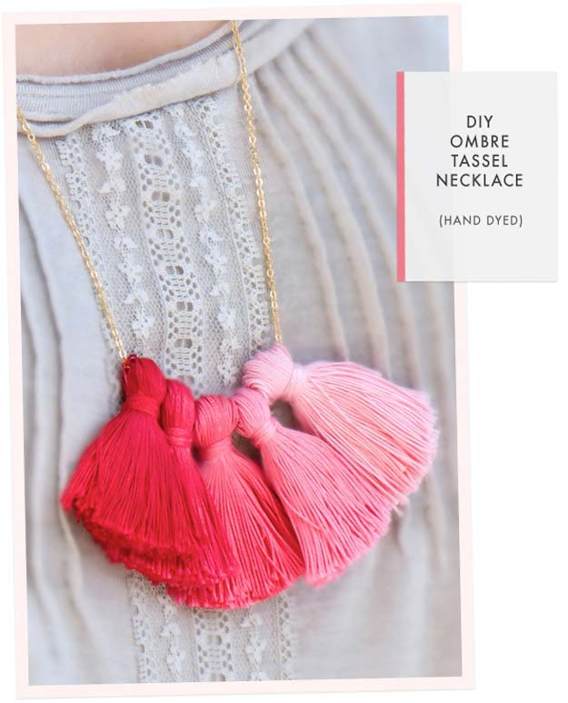 DIY Necklace Ideas - Ombre Tassel Necklace - Pendant, Beads, Statement, Choker, Layered Boho, Chain and Simple Looks - Creative Jewlery Making Ideas for Women and Teens, Girls - Crafts and Cool Fashion Ideas for Teenagers http://diyprojectsforteens.com/diy-necklaces
