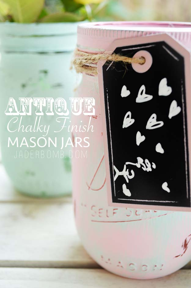 Best Mason Jar Valentine Crafts - Antique Chalky Finish Mason Jars - Cute Mason Jar Valentines Day Gifts and Crafts | Easy DIY Ideas for Valentines Day for Homemade Gift Giving and Room Decor | Creative Home Decor and Craft Projects for Teens, Teenagers, Kids and Adults