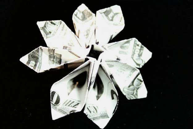 DIY Money Origami - Dollar Bill Flower Module - Step by Step Tutorials for Star, Flower, Heart, Buttlerfly, Animals. Tree, Letters, Bow and Boxes - Cute DIY Gift Ideas for Birthday and Christmas Cards - DIY Projects and Crafts for Teens http://diyprojectsforteens.com/diy-money-origami