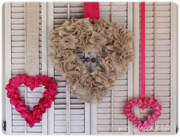 DIY Valentine Decor Ideas - Ruffled Satin Valentine Heart Tutorial - Cute and Easy Home Decor Projects for Valentines Day Decorating - Best Homemade Valentine Decorations for Home, Tables and Party, Kids and Outdoor - Romantic Vintage Ideas - Cheap Dollar Store and Dollar Tree Crafts