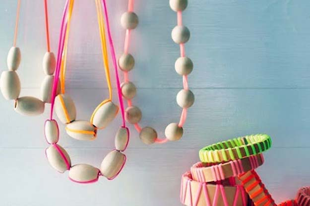 DIY Necklace Ideas - Wood and Neon Lanyard Necklaces - Pendant, Beads, Statement, Choker, Layered Boho, Chain and Simple Looks - Creative Jewlery Making Ideas for Women and Teens, Girls - Crafts and Cool Fashion Ideas for Teenagers http://diyprojectsforteens.com/diy-necklaces