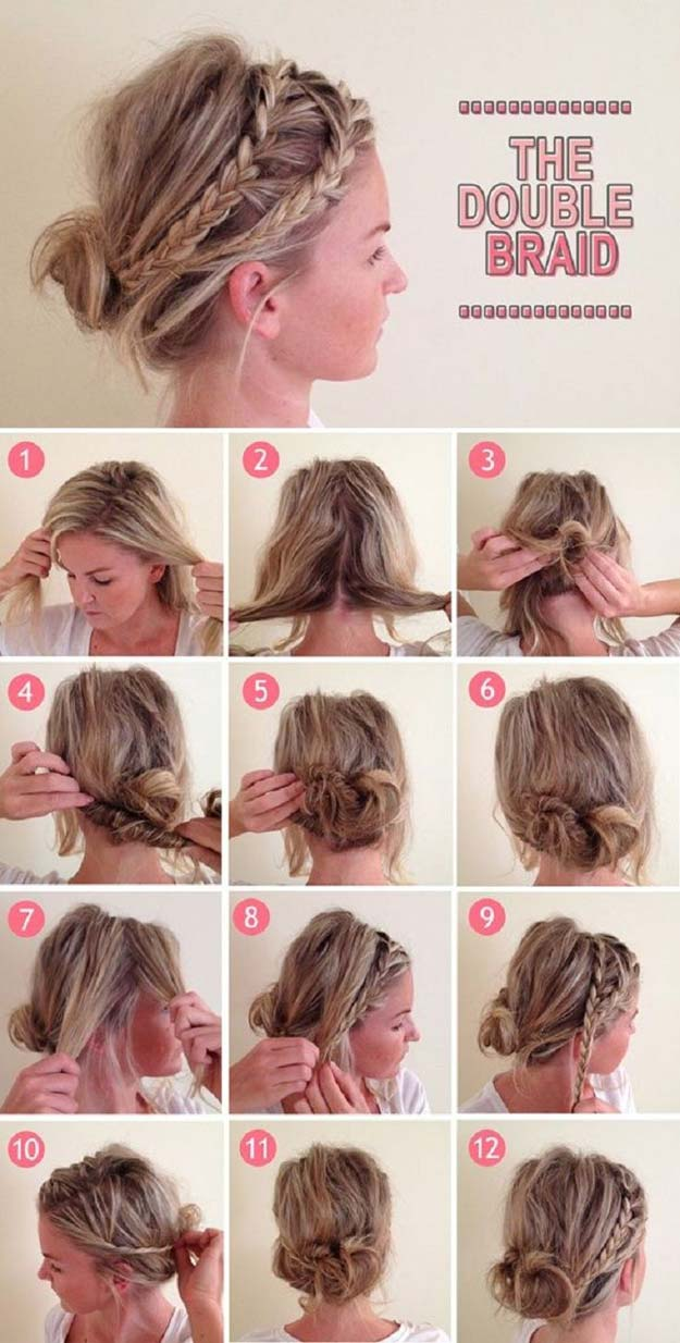 Best Hair Braiding Tutorials - Double Braid - Easy Step by Step Tutorials for Braids - How To Braid Fishtail, French Braids, Flower Crown, Side Braids, Cornrows, Updos - Cool Braided Hairstyles for Girls, Teens and Women - School, Day and Evening, Boho, Casual and Formal Looks #hairstyles #braiding #braidingtutorials #diyhair