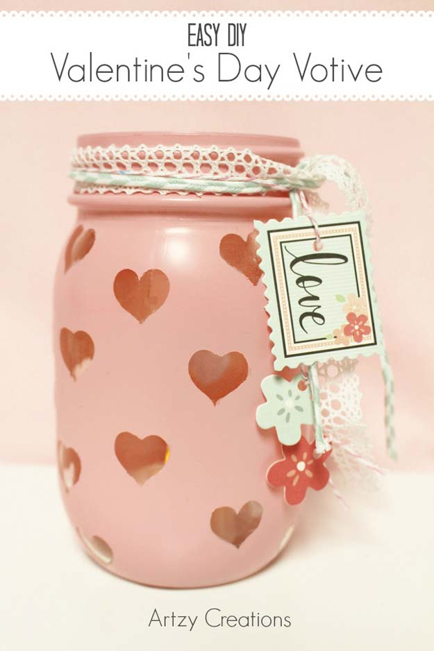 Best Mason Jar Valentine Crafts - Valentine's Day Votive - Cute Mason Jar Valentines Day Gifts and Crafts | Easy DIY Ideas for Valentines Day for Homemade Gift Giving and Room Decor | Creative Home Decor and Craft Projects for Teens, Teenagers, Kids and Adults http://diyprojectsforteens.com/mason-jar-valentine-crafts