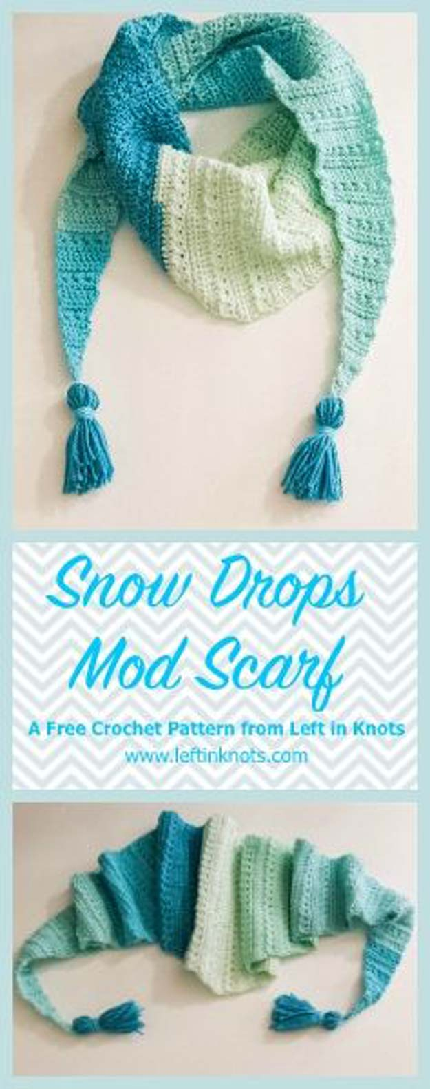 Crochet Patterns and Projects for Teens - Snow Drop Mod Scarf - Best Free Patterns and Tutorials for Crocheting Cute DIY Gifts, Room Decor and Accessories - How To for Beginners - Learn How To Make a Headband, Scarf, Hat, Animals and Clothes DIY Projects and Crafts for Teenagers #crochet #crafts #teencrafts #freecrochet #crochetpatterns