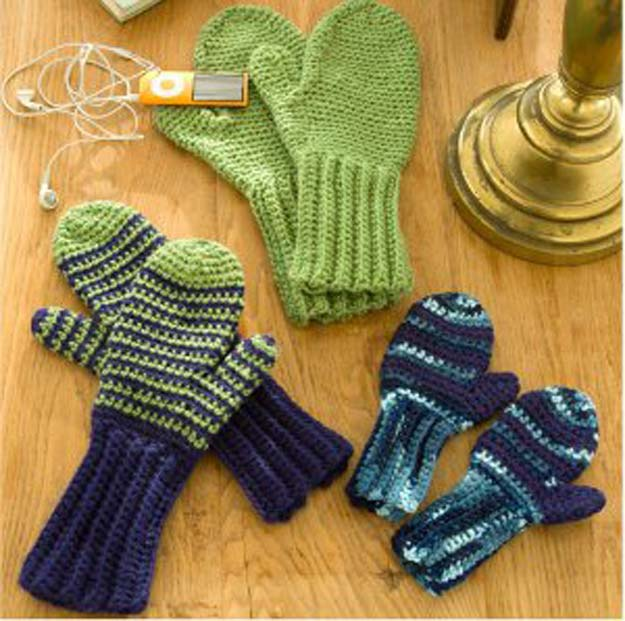 Crochet Patterns and Projects for Teens - Beginner Mittens for All - Best Free Patterns and Tutorials for Crocheting Cute DIY Gifts, Room Decor and Accessories - How To for Beginners - Learn How To Make a Headband, Scarf, Hat, Animals and Clothes DIY Projects and Crafts for Teenagers #crochet #crafts #teencrafts #freecrochet #crochetpatterns