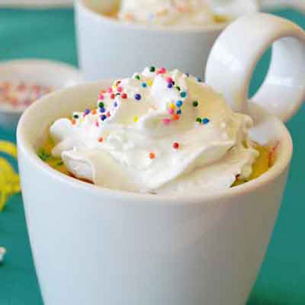 Easy Mug Cake Recipes - Birthday Party Mug Cake - Best Microwave Cakes and Ideas for Baking Ckae in The Microwave - Chocolate, Vanilla, Healthy, Snickerdoodle, Peanut Butter, Bownie and Nutella - Step by Step Tutorials and Instructions - Besy DIY Projects and Recipes for Teens and Teenagers - http://diyprojectsforteens.com/easy-mug-cake-recipes
