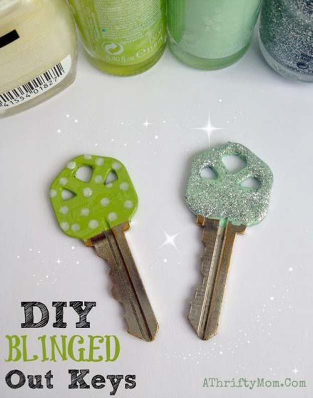 DIY Crafts Using Nail Polish - DIY Blinged Out Keys Tutorial - Fun, Cool, Easy and Cheap Craft Ideas for Girls, Teens, Tweens and Adults | Wire Flowers, Glue Gun Craft Projects and Jewelry Made From nailpolish - Water Marble Tutorials and How To With Step by Step Instructions http://diyprojectsforteens.com/best-nail-polish-crafts