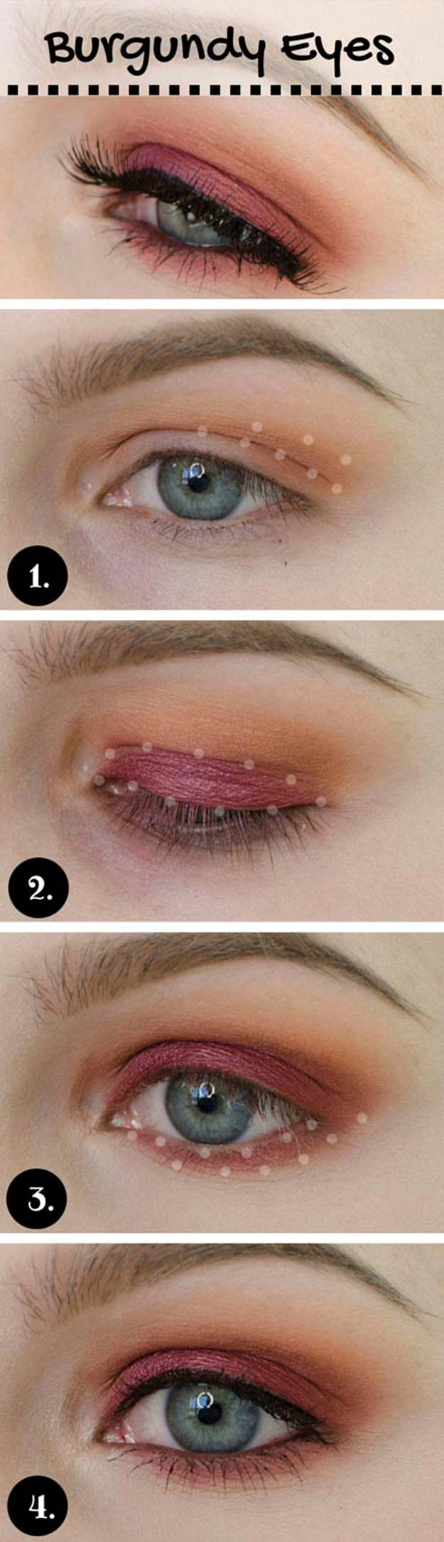 Best Eyeshadow Tutorials - Burgundy Make-up Look - Easy Step by Step How To For Eye Shadow - Cool Makeup Tricks and Eye Makeup Tutorial With Instructions - Quick Ways to Do Smoky Eye, Natural Makeup, Looks for Day and Evening, Brown and Blue Eyes - Cool Ideas for Beginners and Teens http://diyprojectsforteens.com/best-eyeshadow-tutorials
