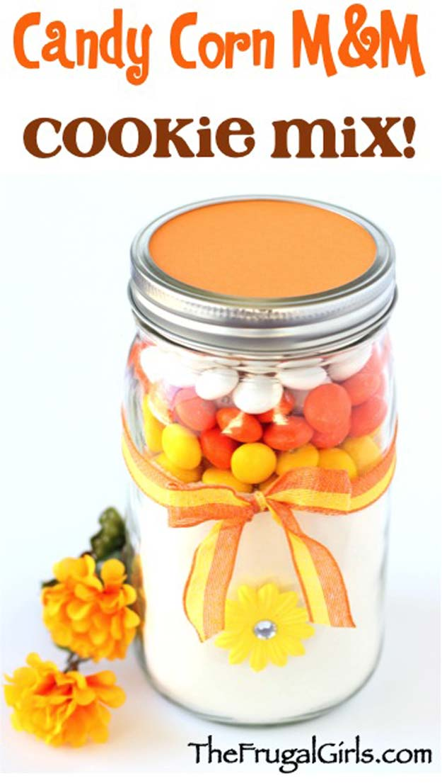 Best Mason Jar Cookies - Candy Corn MM Cookie Mix in a Jar! - Mason Jar Cookie Recipe Mix for Cute Decorated DIY Gifts - Easy Chocolate Chip Recipes, Christmas Presents and Wedding Favors in Mason Jars - Fun Ideas for DIY Parties, Easy Recipes for Teens, Teenagers, Kids and Teens - Cheap Last Mintue Gift Ideas for Friends, Family and Neighbors http://diyprojectsforteens.com/mason-jar-cookie-recipes