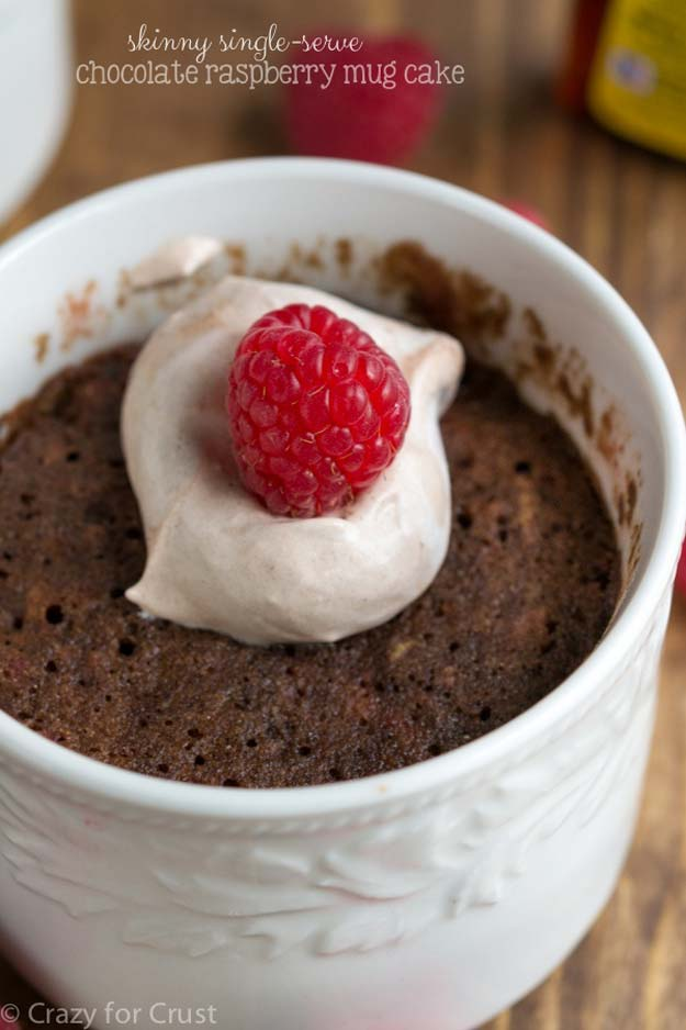 Easy Mug Cake Recipes - Chocolate Raspberry Mug Cake Recipe - Best Microwave Cakes and Ideas for Baking Ckae in The Microwave - Chocolate, Vanilla, Healthy, Snickerdoodle, Peanut Butter, Bownie and Nutella - Step by Step Tutorials and Instructions - Besy DIY Projects and Recipes for Teens and Teenagers -