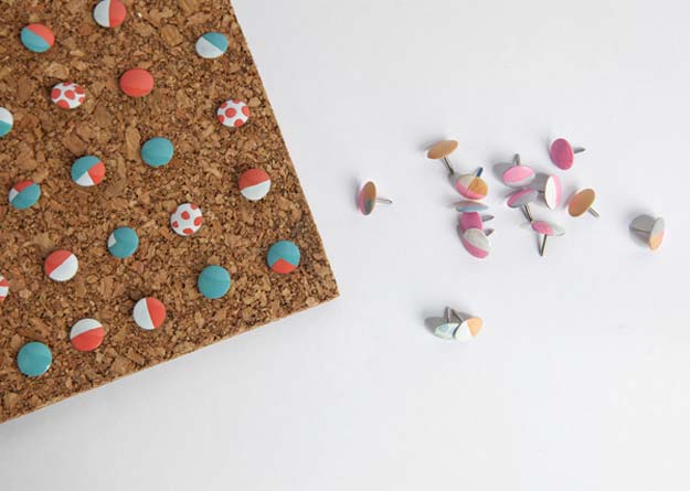 DIY Crafts Using Nail Polish - Colorful Thumbtacks - Fun, Cool, Easy and Cheap Craft Ideas for Girls, Teens, Tweens and Adults | Wire Flowers, Glue Gun Craft Projects and Jewelry Made From nailpolish - Water Marble Tutorials and How To With Step by Step Instructions http://diyprojectsforteens.com/best-nail-polish-crafts