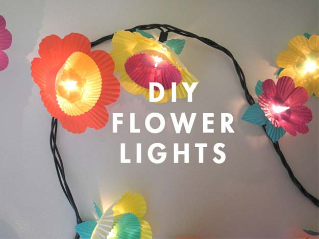 Cool Ways To Use Christmas Lights - Cupcake Flower Lights - Best Easy DIY Ideas for String Lights for Room Decoration, Home Decor and Creative DIY Bedroom Lighting - Creative Christmas Light Tutorials with Step by Step Instructions - Creative Crafts and DIY Projects for Teens, Teenagers and Adults http://diyprojectsforteens.com/diy-projects-string-lights