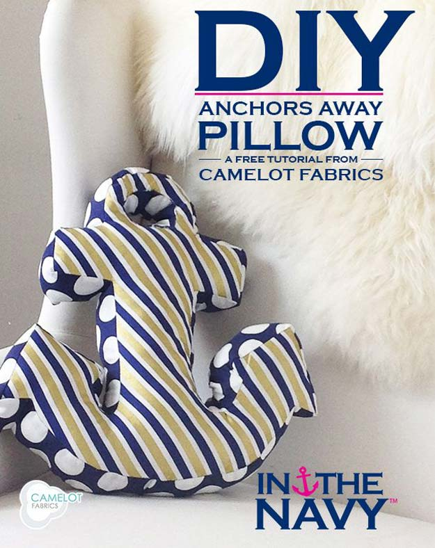 DIY Pillows and Fun Pillow Projects - DIY Anchor Pillow - Creative, Decorative Cases and Covers, Throw Pillows, Cute and Easy Tutorials for Making Crafty Home Decor - Sewing Tutorials and No Sew Ideas for Room and Bedroom Decor for Teens, Teenagers and Adults