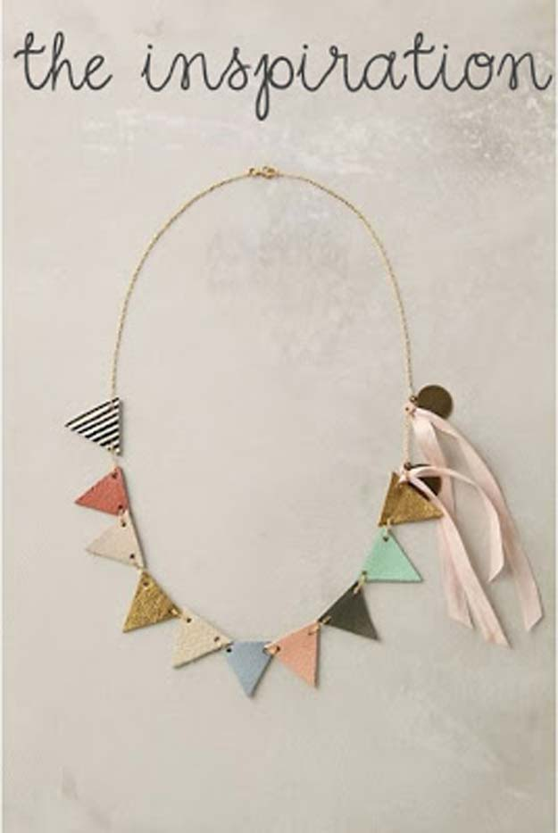 DIY Necklace Ideas - DIY: Anthropologie Pennant Necklace - Pendant, Beads, Statement, Choker, Layered Boho, Chain and Simple Looks - Creative Jewlery Making Ideas for Women and Teens, Girls - Crafts and Cool Fashion Ideas for Teenagers