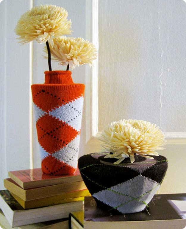 Cool Crafts Made With Old Socks - DIY Argyle Sock Vases - Fun DIY Projects and Gifts You Can Make With A Sock - Easy DIY Ideas for Teens, Teenagers, Kids and Adults - Step by Step Tutorials and Instructions for Making Room Decor, Animals, Cat, Rabbit, Owl, Puppets, Snowman, Gloves http://diyprojectsforteens.com/diy-crafts-ideas-socks