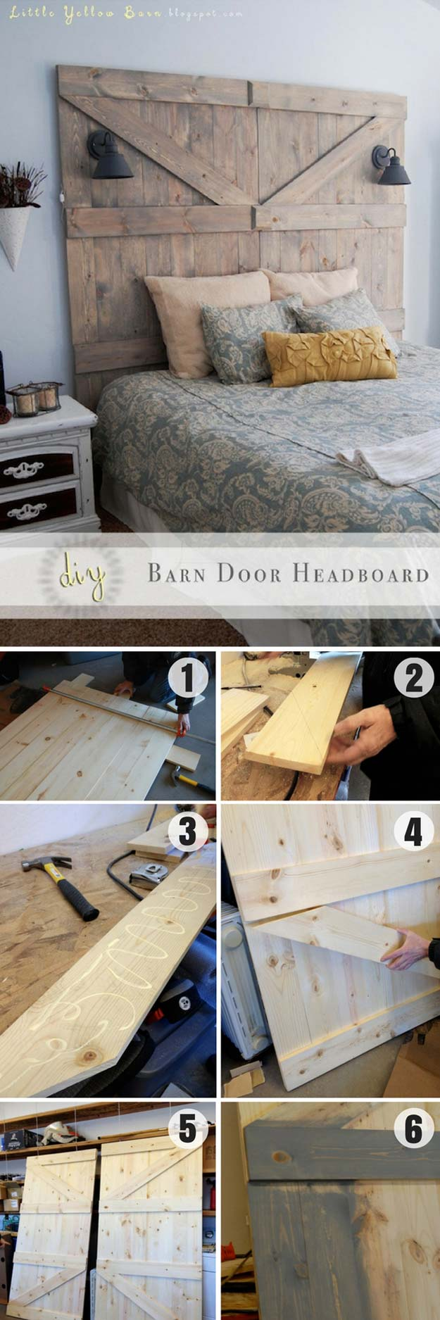 Cool DIY Ideas for Your Bed - DIY Barn Door Headboard - Fun Bedding, Pillows, Blankets, Home Decor and Crafts to Make Your Bedroom Awesome - Easy Step by Step Tutorials for Making A T-Shirt Pillow, Knit Throws, Fuzzy and Furry Warm Blankets and Handmade DYI Bedding, Sheets, Bedskirts and Shams