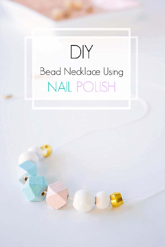 DIY Crafts Using Nail Polish - DIY Bead Necklace Using Nail Polish - Fun, Cool, Easy and Cheap Craft Ideas for Girls, Teens, Tweens and Adults | Wire Flowers, Glue Gun Craft Projects and Jewelry Made From nailpolish - Water Marble Tutorials and How To With Step by Step Instructions http://diyprojectsforteens.com/best-nail-polish-crafts