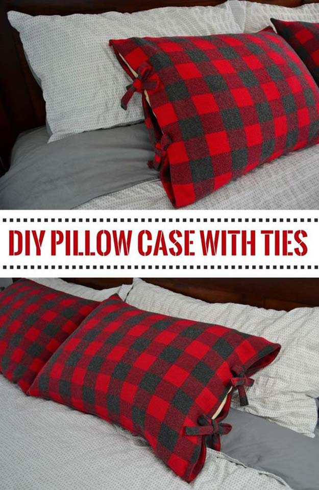 DIY Pillows and Fun Pillow Projects - DIY Bed Pillow Cases with Ties - Creative, Decorative Cases and Covers, Throw Pillows, Cute and Easy Tutorials for Making Crafty Home Decor - Sewing Tutorials and No Sew Ideas for Room and Bedroom Decor for Teens, Teenagers and Adults