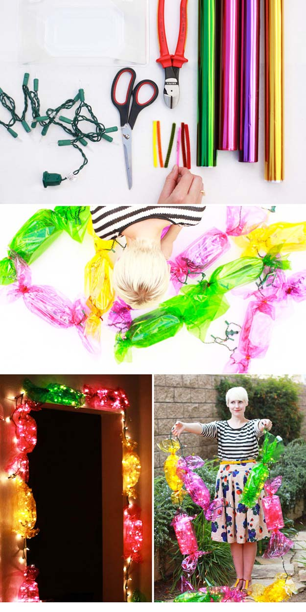 Cool Ways To Use Christmas Lights - DIY Candy Lights - Best Easy DIY Ideas for String Lights for Room Decoration, Home Decor and Creative DIY Bedroom Lighting - Creative Christmas Light Tutorials with Step by Step Instructions - Creative Crafts and DIY Projects for Teens, Teenagers and Adults http://diyprojectsforteens.com/diy-projects-string-lights