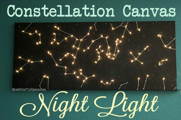 Cool Ways To Use Christmas Lights - DIY Canvas Constellation Night Light - Best Easy DIY Ideas for String Lights for Room Decoration, Home Decor and Creative DIY Bedroom Lighting - Creative Christmas Light Tutorials with Step by Step Instructions - Creative Crafts and DIY Projects for Teens, Teenagers and Adults http://diyprojectsforteens.com/diy-projects-string-lights