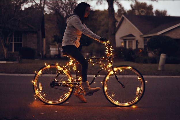 Cool Ways To Use Christmas Lights - DIY Christmas Lights On Bicycle - Best Easy DIY Ideas for String Lights for Room Decoration, Home Decor and Creative DIY Bedroom Lighting - Creative Christmas Light Tutorials with Step by Step Instructions - Creative Crafts and DIY Projects for Teens, Teenagers and Adults http://diyprojectsforteens.com/diy-projects-string-lights