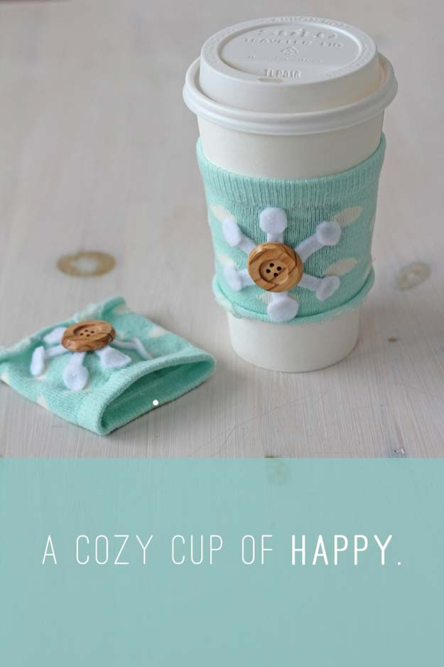 Cool Crafts Made With Old Socks - DIY Coffee Cozy - Fun DIY Projects and Gifts You Can Make With A Sock - Easy DIY Ideas for Teens, Teenagers, Kids and Adults - Step by Step Tutorials and Instructions for Making Room Decor, Animals, Cat, Rabbit, Owl, Puppets, Snowman, Gloves http://diyprojectsforteens.com/diy-crafts-ideas-socks