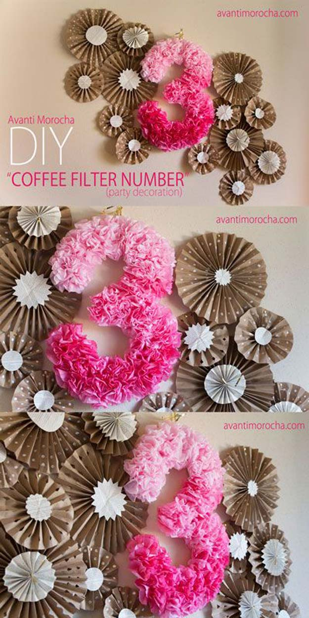 Pink DIY Room Decor Ideas - DIY Coffee Filter Number - Cool Pink Bedroom Crafts and Projects for Teens, Girls, Teenagers and Adults - Best Wall Art Ideas, Room Decorating Project Tutorials, Rugs, Lighting and Lamps, Bed Decor and Pillows #teencrafts #roomdecor #pink
