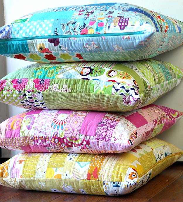 DIY Pillows and Fun Pillow Projects - DIY Color Strips Scrap Floor Pillows Tutorial - Creative, Decorative Cases and Covers, Throw Pillows, Cute and Easy Tutorials for Making Crafty Home Decor - Sewing Tutorials and No Sew Ideas for Room and Bedroom Decor for Teens, Teenagers and Adults