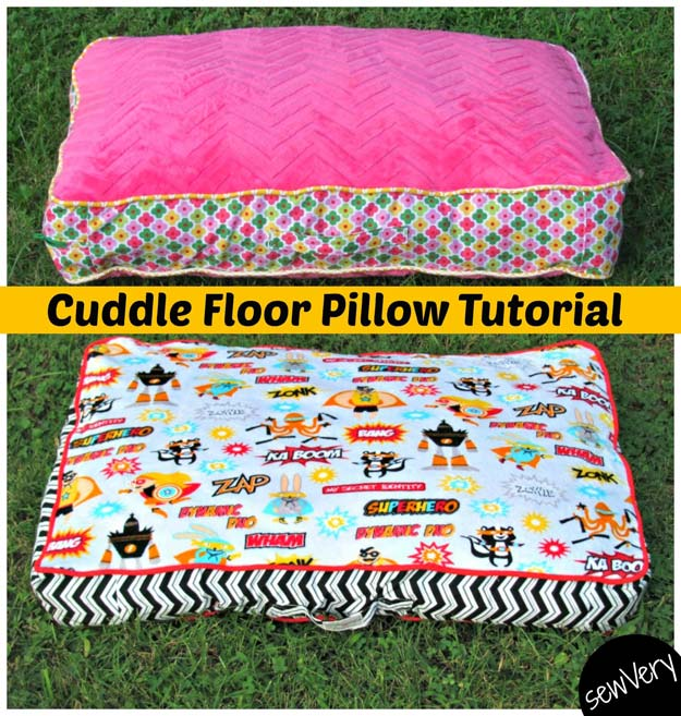 DIY Pillows and Fun Pillow Projects - DIY Cuddle Floor Pillow Tutorial - Creative, Decorative Cases and Covers, Throw Pillows, Cute and Easy Tutorials for Making Crafty Home Decor - Sewing Tutorials and No Sew Ideas for Room and Bedroom Decor for Teens, Teenagers and Adults