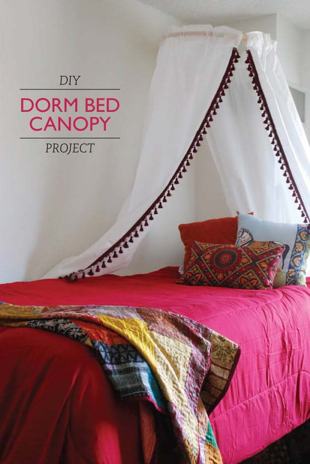 Cool DIY Ideas for Your Bed - DIY Dorm Bed Canopy Project - Fun Bedding, Pillows, Blankets, Home Decor and Crafts to Make Your Bedroom Awesome - Easy Step by Step Tutorials for Making A T-Shirt Pillow, Knit Throws, Fuzzy and Furry Warm Blankets and Handmade DYI Bedding, Sheets, Bedskirts and Shams http://diyprojectsforteens.com/diy-projects-bedding-teens