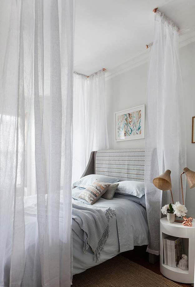 Cool DIY Ideas for Your Bed - DIY Dreamy Canopy Bed Project - Fun Bedding, Pillows, Blankets, Home Decor and Crafts to Make Your Bedroom Awesome - Easy Step by Step Tutorials for Making A T-Shirt Pillow, Knit Throws, Fuzzy and Furry Warm Blankets and Handmade DYI Bedding, Sheets, Bedskirts and Shams