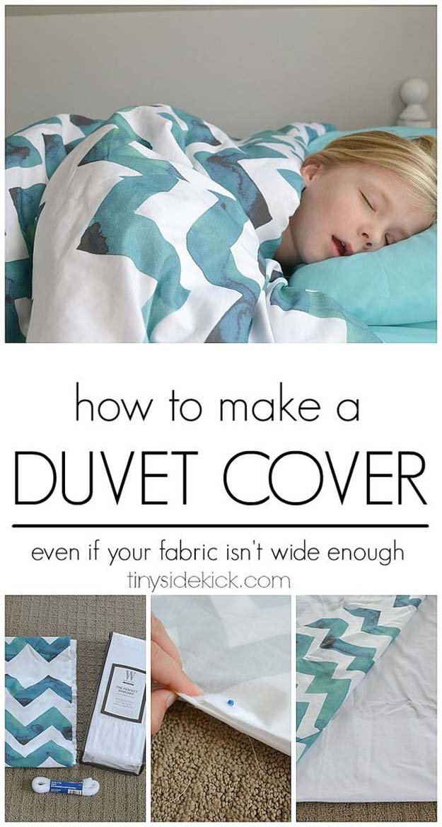 Cool DIY Ideas for Your Bed - DIY Duvet Cover - Fun Bedding, Pillows, Blankets, Home Decor and Crafts to Make Your Bedroom Awesome - Easy Step by Step Tutorials for Making A T-Shirt Pillow, Knit Throws, Fuzzy and Furry Warm Blankets and Handmade DYI Bedding, Sheets, Bedskirts and Shams http://diyprojectsforteens.com/diy-projects-bedding-teens