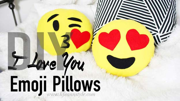 DIY Pillows and Fun Pillow Projects - DIY Heart Emoji Pillows - Creative, Decorative Cases and Covers, Throw Pillows, Cute and Easy Tutorials for Making Crafty Home Decor - Sewing Tutorials and No Sew Ideas for Room and Bedroom Decor for Teens, Teenagers and Adults