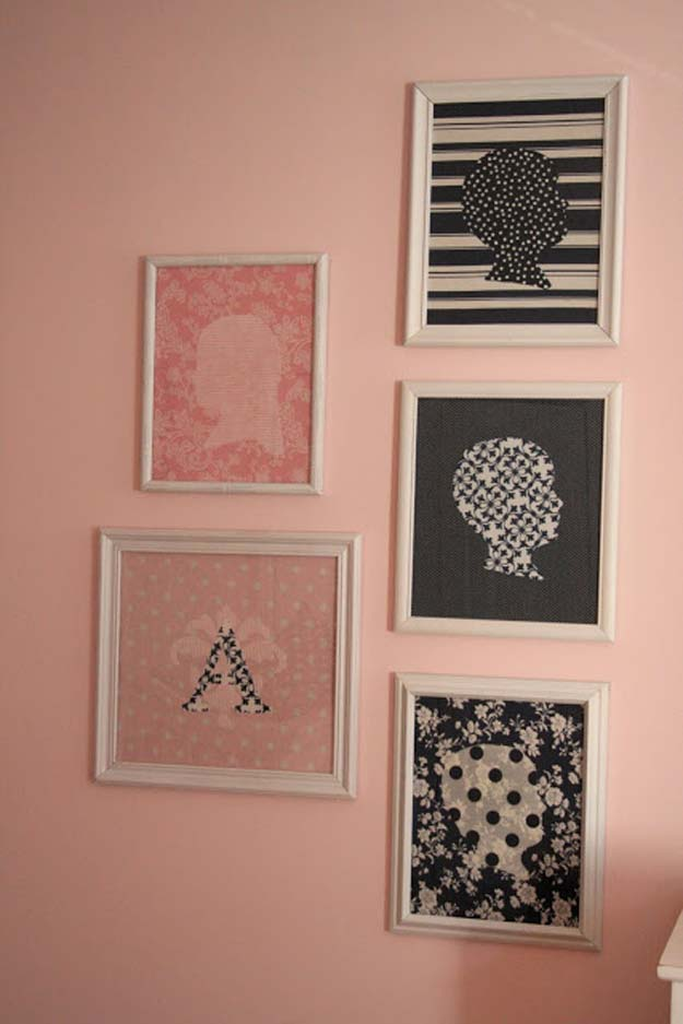 Pink DIY Room Decor Ideas - DIY Fabric Silhouettes - Cool Pink Bedroom Crafts and Projects for Teens, Girls, Teenagers and Adults - Best Wall Art Ideas, Room Decorating Project Tutorials, Rugs, Lighting and Lamps, Bed Decor and Pillows #teencrafts #roomdecor #pink