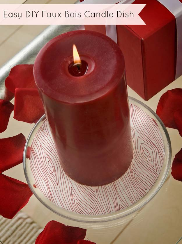 Cool DIY Room Decor Ideas in Red - DIY Faux Bois Candle Dish - Creative Home Decor, Wall Art and Bedroom Crafts to Accent Your Red Room - Creative Craft Projects and Quick Arts and Crafts Ideas for Teens and Adults - Easy Ways To Decorate on A Budget http://diyprojectsforteens.com/diy-room-decor-red