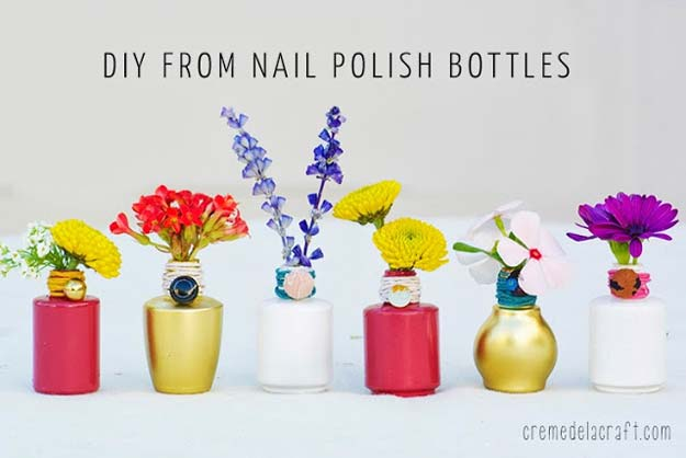 DIY Crafts Using Nail Polish - DIY: Flower Bud Vases from Nail Polish Bottles - Fun, Cool, Easy and Cheap Craft Ideas for Girls, Teens, Tweens and Adults | Wire Flowers, Glue Gun Craft Projects and Jewelry Made From nailpolish - Water Marble Tutorials and How To With Step by Step Instructions http://diyprojectsforteens.com/best-nail-polish-crafts